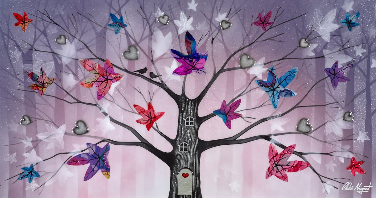 Little Birds II by chloe nugent -  sized 30x16 inches. Available from Whitewall Galleries